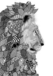 Zentangle Lion by poreen