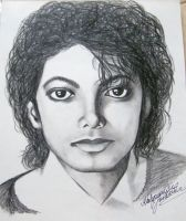 Michael Jackson portrait - carbon drawing by gosia-jasklowska