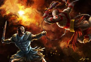 perseo vs kratos by chuyDeleon