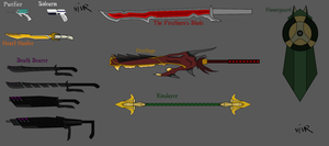 RWBY: Weapon Concepts w Names by Shattered-Valor