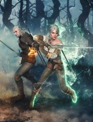Commission: Geralt and Ciri by AnubisDHL