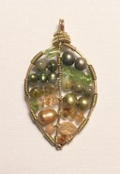 Green to Gold Autumn Leaf Pendant by ElegantlyEccentric