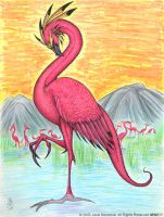 Pink Flamingo Dragon by benwhoski