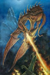 Bard the Bowman Faces Smaug by KipRasmussen