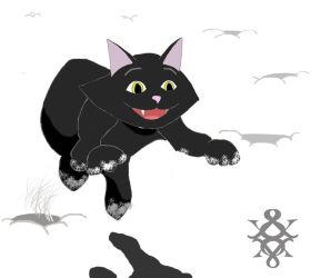 Black Cat Jumping in White Snow by On-A-WHM