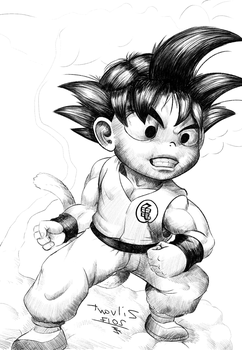 Goku portrait inked drawing by zilvart