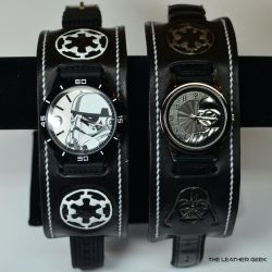 Darth Vader and Stormtrooper leather cuff watches by CoreyChiev