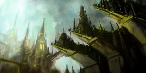 The Green Castle Town by NatMonney