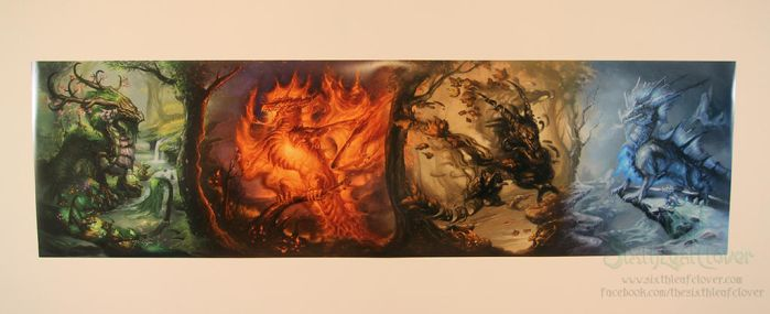 24x86 Seasonal Dragons Panorama Print by The-SixthLeafClover