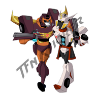 TFN sticker: Dirft and Rodimus by LyricaBelachium