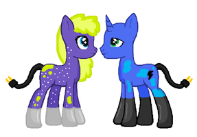 Electric Bolt and Chardonnay Ritz breedable by Strawberry-T-Pony