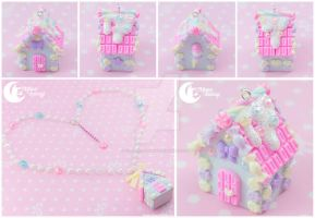 Candy House (blue) Necklace by CuteMoonbunny