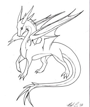 dragon lineart by fantasy-coolcat