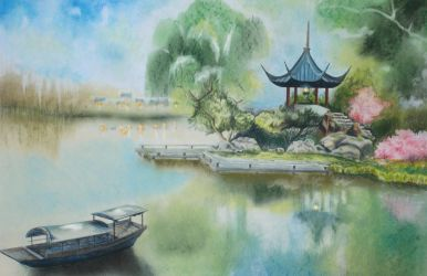 Chinese Gazebo Over the Pond by shawnjzlee