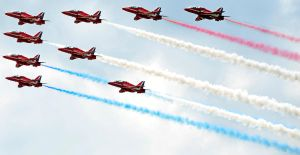 Red Arrows flying set square by in-my-viewfinder