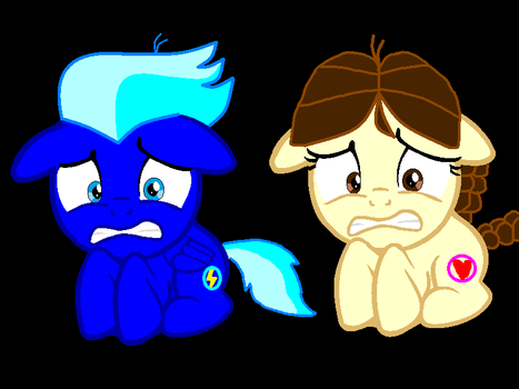 Shock Blue And Misty Pommel Scared by mario8384
