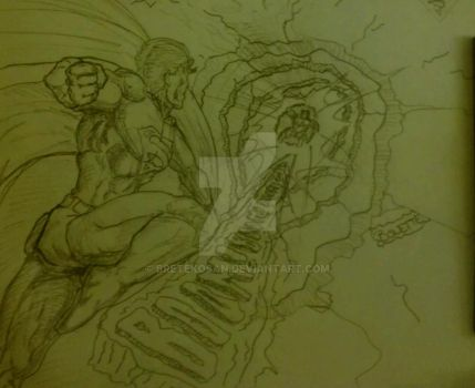 20 minutes sketch of Superman in action by BreteKosan