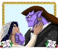 Eurynome's portrait of Goliath and Elisa's wedding by Kimberly-T