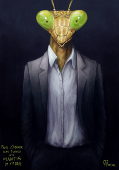 Mantis in Suit by aquaticmine