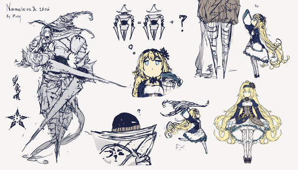 OC sketches - Guardian and Nameless by Pinlin