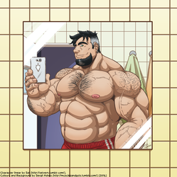 Musclegut dad's selfie by Fast-Ashadonic
