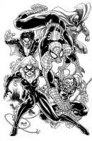 SPIDEY w friends ink washed by gammaknight