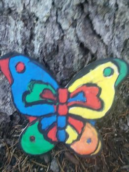 painted butterfly stone  by TazMera
