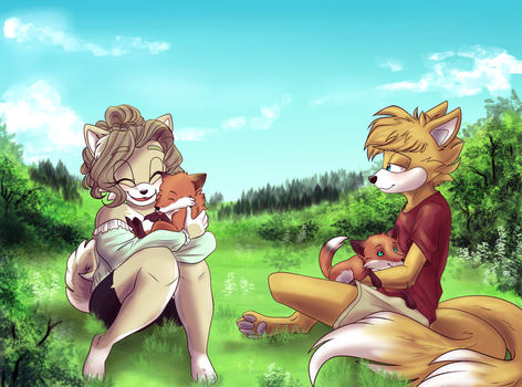 .: Cuddling with foxes  - Contest Entry :. by Chocoecaramell