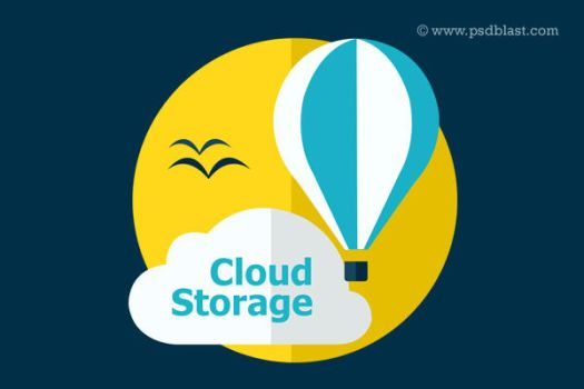 Flat Cloud Storage Icon (PSD) by psdblast