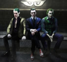 The 3 Joker's Leto, Monaghan and Ledger by DigestingBat
