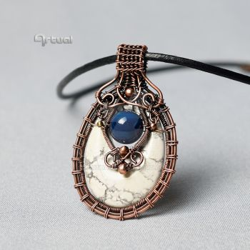 Wire wrapped pendant with Magnesite and blue Agate by artual