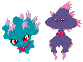 Misdreavus and Mismagius Base by SelenaEde