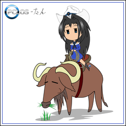 Chibi PCLOS-tan with Gnu by C-quel