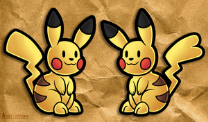 Pair of Paper Pikachu by PrinceofSpirits