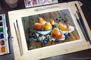Pears and berries - in reality by NataliHall