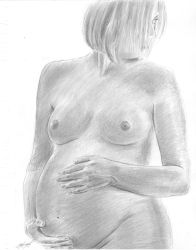 a beautiful Mother to be sketch by mozer1a0x