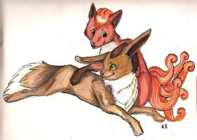 Eevee and Vulpix by Kyokui