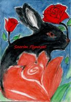 #43 Black Rose Rabbit by Soarim-illustration