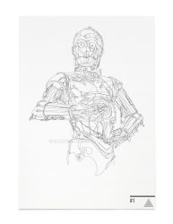C3PO StarWars Continuous Line Illustration by SamHallows