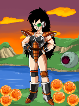 Female Saiyan With Raditz Armor W/Backround by EliteSaiyanWarrior