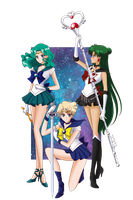 Sailor Moon S - Neptune, Uranus and Pluto by AlbertoSanCami