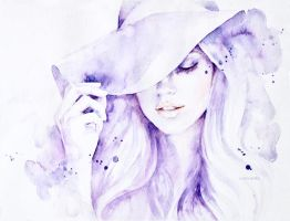 Watercolor portrait in Purple  by Lanadoraart