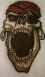 Airbrushed Pirate Skull by Batalha-Enterprises