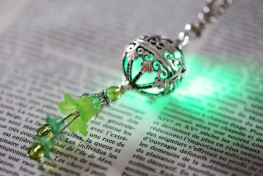 Fairy Punk Glowing Green orb Pendant by CatherinetteRings