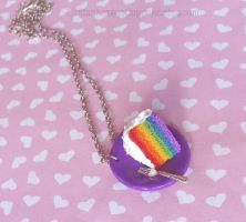 Rainbow Cake Necklace Commission by CantankerousCupcake