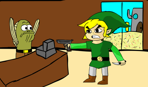 My randomly generated mashup: Link robbing a bank. by KennyHDx