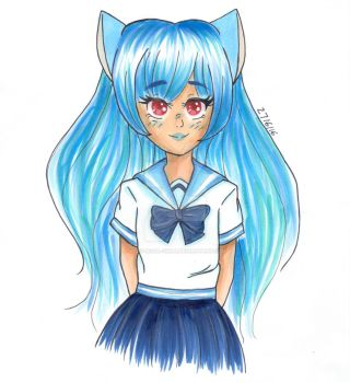 Neko girl - Happy Blue by Lady-Rosa-chan