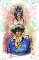 Cowboy Bebop Faye and Spike by TerryXart