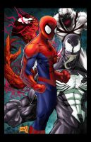 Spidey vs Symbiotes colored by hanzozuken