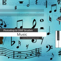 Music Photoshop and GIMP Brushes by redheadstock